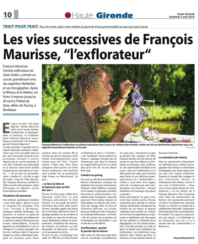 Fran ois maurisse dans le journal haute gironde - Le journal de francois ...
